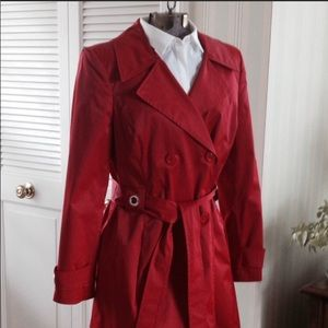Style & company gorgeous red raincoat/trench coat
